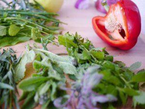 Frische Kräuter und Gemüse